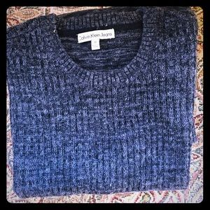 Calvin Klein Men's Black-Grey Crew-Neck Sweater